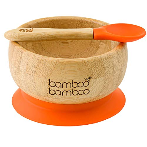 bamboo bamboo ® Baby Bowls with Suction and Spoon Set 350ml Orange - Detachable Suction Base - Natural Bamboo BPA Free Weaning Bowl for Stay Put Feeding