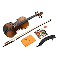 バイオリン セット 子供/初心者向け 4/4 1/2 木製 ヴァイオリン 練習用 バイオリンケース付き 滑らか バイオリン弦 弓 ロジン 弦楽器メンテナンスアクセサリー 贈り物(1/2バイオリン)
