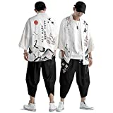 curtain abito cardigan kimono da uomo,pantaloni stile harem giapponese casual,giacca stampata con gru volante creativa retrò primavera ed estate s-6xl,white-xxlarge