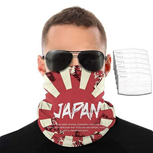 CAOMEII Kamikaze Japan Flagge Hals Gaiter Gesichtsmaske Wiederverwendbar, Tuch Waschbar Bandana Gesichtsmaske Cover Sturmhaube Schal Schild