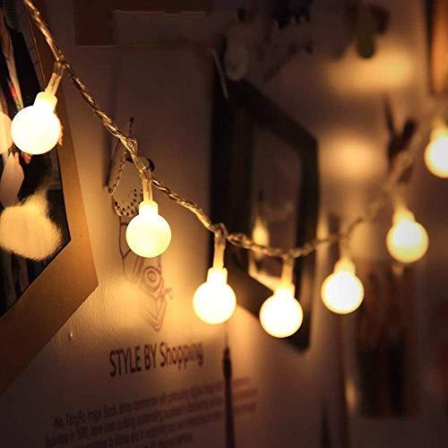 JZK 5 Metri stringa luci LED batteria ghirlanda luminosa palline lucine decorative catene luminose esterni interni per giardino matrimonio compleanno festa albero Natale, bianco caldo