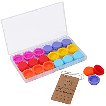 Reusable Beer Caps Silicone Rubber Bottle Caps  Pack of 18  Ideal for Home Brewing Beer Soft Drink,Soda Bottle Kitchen Gadgets Multicolor with Homemade Tag