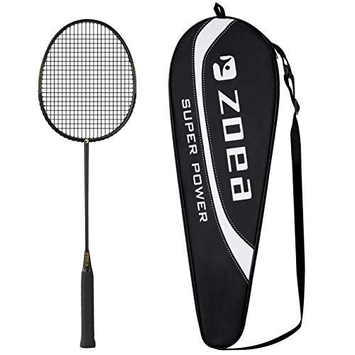 ZOEA Raquette de Badminton Professionnelle à Haute Tension 100% Fibre de Carbone pour Raquette de Badminton en...