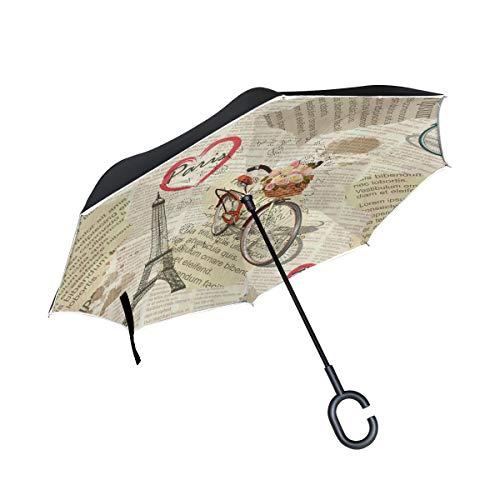 PINLLG Paraguas de la Torre Eiffel Vintage de la Bicicleta de París...