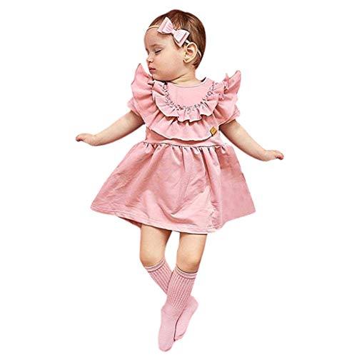 Julhold Kleinkind Kinder Baby Mädchen Niedlich Rüschen Feste Haarband Lässig Prinzessin Schlank Kleid Sommerkleid 0-4 Jahre