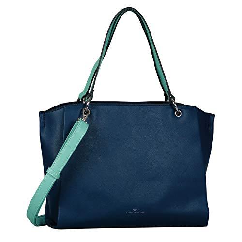 TOM TAILOR Shopper Damen, Blau, Alassio, 36x8x24,5 cm, Handtasche groß, Umhängetasche