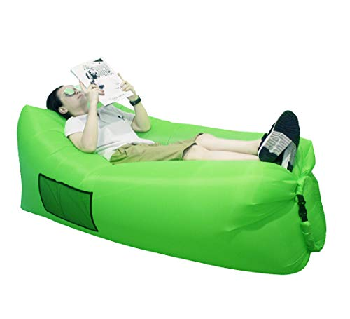 SIEMOO Inflatable Lounger - Outdoor Best Air Lounger Air Sofa for Travelling, Camping, Hiking - Ideal Inflatable Couch for Pool and Beach Parties Music Festivals Camping Picnics (Green)