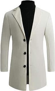 Men Mid Long Outwear Woolen Pea Coat Single Breasted Overcoats