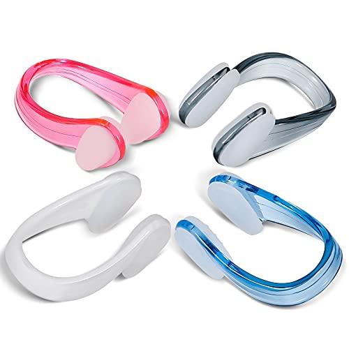 SAVITA 4 Stück Schwimmen Nase Clip wasserdichte Nasenklammer Nasenclip Nasenschutz für Kinder und Erwachsene (4 Farben)