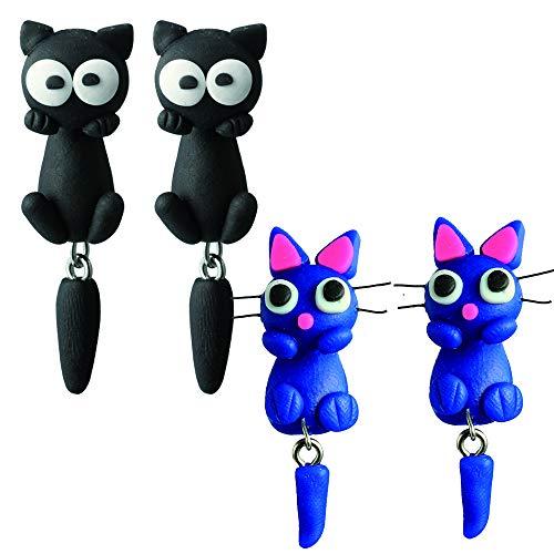 Pendientes animales en 3D x 2 pares (Pack Pendientes gato). Joyería Hecha a Mano en Arcilla de polímero. Pendientes niña y mujeres.