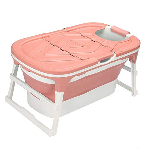 1.12M Bañera Adulto Bañera Plegable Barril Barril Casa Bañera Bañera Bañera de Gran tamaño Espesado Bañera Portátil Artifact Sauna Bañera de hidromasaje (Color : Pink)
