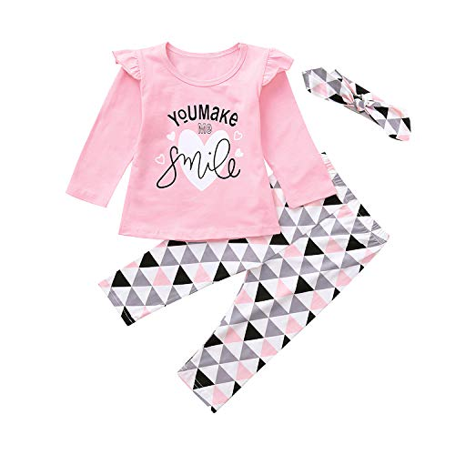Nwada Ropa Bebe Niña Otoño 12-18 Meses Pijama Invierno Conjunto Rosa Camisa con Manga de Loto y Pantalon