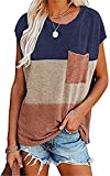 JXWYHH Women's Color Block Tops Summer Casual Tee Tops Lace Striped Shirts with Pocket (Light Blue, Small)