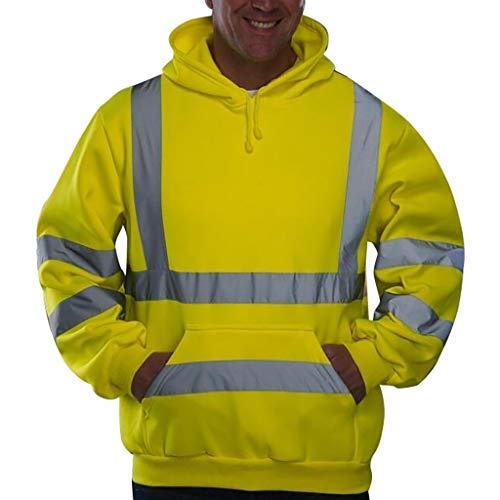 Herren Kapuzenpullover Hoodie Road Work High Visibility Pullover Langarm Oberteile Reflektierende Jacke CICIYONER