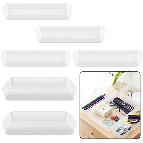 Owevvin Plastic Desk Drawer Organizers Trays Large Capacity Storage Drawer Dividers for Makeup Kitchen Utensils Jewelries and Gadgets 2 Size Set of 6