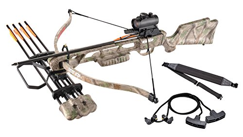 Leader Accessories Crossbow Package 160lbs 210fps Archery Equipment Hunting Bow with Quiver and 4pcs of Aluminum Arrow, Green Camo