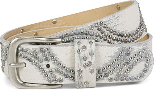 styleBREAKER Vintage Nietengürtel mit glitzerndem Strass und Nieten in runder Anordnung, Damen 03010066, Farbe:Weiß, Größe:80cm