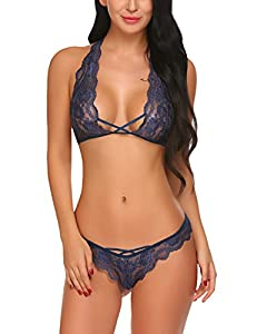 Brand : Avidlove Sexy Bra and Panty Set Sexy bra and panty sets, Sexy bra and thong set, Matching bra and panty sets, strappy lace halter bra top and matching peek-a-boo panty, hollow floral lace lingerie set for women This Sexy Bra and Panty Set inc...