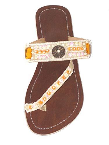 Damen Flip Sandale Glamour Zehentrenner Zehenpantolette Sommersandale Zehenstegsandale mit Perlen und Pailletten, DREI Farben zur Auswahl: Schwarz, Rot, Creme-Weiß