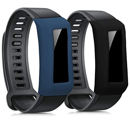 kwmobile 2 Fundas Compatible con Huawei Band 2 / Band 2 Pro - Cubierta Monitor de Actividad de Silicona Negro/Azul Oscuro