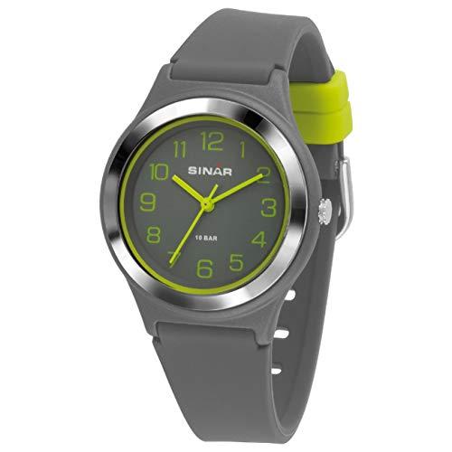 SINAR Jungen-Armbanduhr Sportuhr Fitness analog Quarz 10 Bar wasserdicht grau gelb XB-48-1