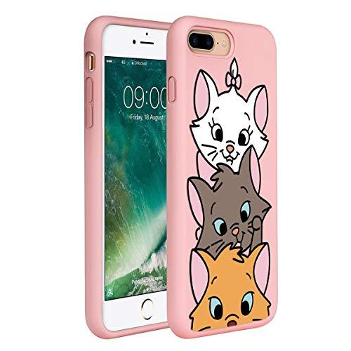 ZhuoFan Coque iPhone 8 Plus / 7 Plus, Etui en Liquide Silicone 3D Rose avec Motif Dessin Antichoc Housse de Protection Case Cover Coque pour Téléphone Apple iPhone 8Plus / 7Plus, 3 Chat