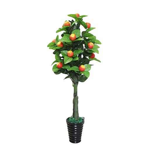 OPYTR Planta Artificial Plantas Artificiales 150cm Naranja Manzana Peatch Tree Bonsai en Maceta Decoración del hogar Árbol frutal Artificial Plantas Falsas Plantas de Interior Bonsai Artificial