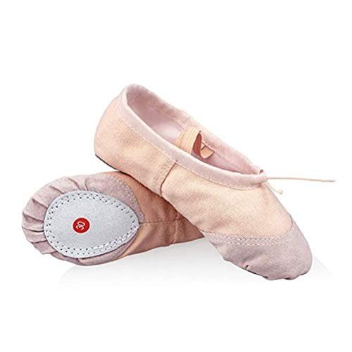 DoGeek Chaussure de Ballet Ballerine Fille Chaussure de Danse Chaussures Pilates Chaussures Yoga Gymnastique Split Plate Ballet Doux Toile Chaussons pour Enfants,Adultes,Filles,Rose clair,33 EU