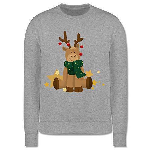 Shirtracer Weihnachten Kind - süßer Elch - 152 (12/13 Jahre) - Grau meliert - Pullover Weihnachten Kinder Baumwolle - JH030K - Kinder Pullover