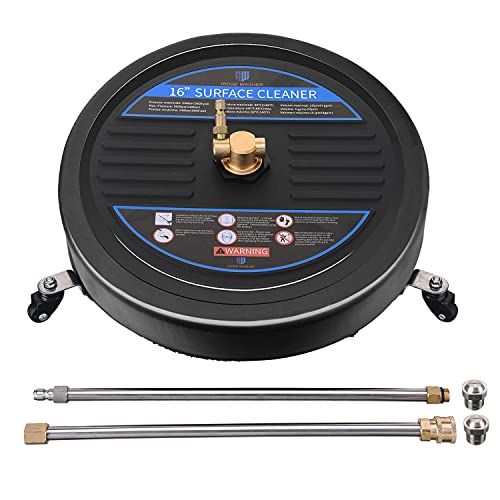 RIDGE WASHER Surface Cleaner for Pressure Washer, 16 Inch, Power Washer Surface Cleaner Attachment with 2 Pcs Extension Wands and 2 Pcs Replacement Nozzles, 3600 PSI