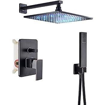 Rozin Bathroom 2-Function Diverter Valve Shower Faucet System LED Light 12-inch Rain Showerhead + Handheld Spray Oil Rubbed Bronze