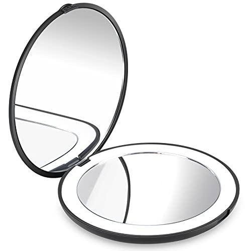 CLSEVXY Lighted Travel Makeup Mirror, 1x/10x Magnification - Daylight LED Compact Mirror, Portable for Handbag, Purse, Pocket, 3.5 inch Illuminated Folding Mirror, Handheld 2-Sided Mirror(Black)