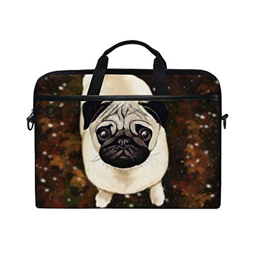 DOSHINE Laptop Bag Case Sleeve Cute Pug Dog Animal Notebook Computer Bag for 14-14.5 inch Adjustable Shoulder Strap, Back to School Gifts for Men Women Boy Girls