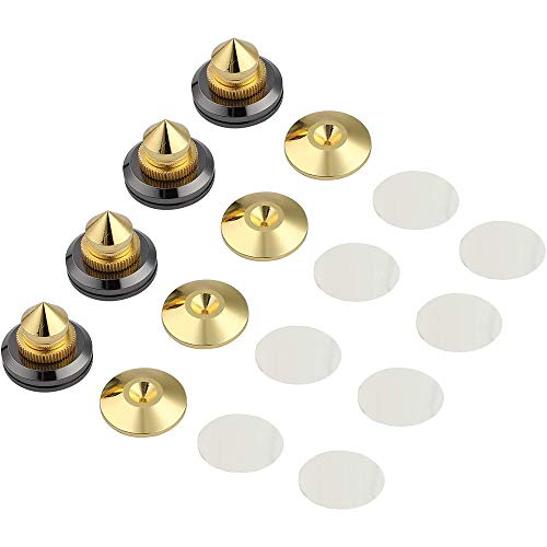 ANCLLO - Juego de 4 clavijas para altavoces, soportes para altavoces, amplificador de subwoofer de audio de CD, placa giratoria, patas de aislamiento, almohadillas de base aislante de cono