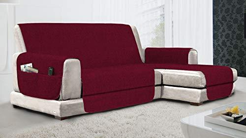 MB HOME BASIC Funda de sofá Antideslizante Chaise Longue DX Relax, Burdeos, 190 cm