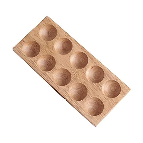 RUMUI Soporte de Madera de Goma para Huevos, Caja de Almacenamiento de Huevos para el hogar de Doble Fila de Madera Creativa inastillable para Armario, refrigerador, Plato Fresco