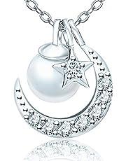 星月ネックレス レディース スワロフスキー ジルコニア 7種着る方法 シルバー 925純銀製 チェーン 真珠 パール ネックレス 限定品 金属アレルギー対応 彼女 妻 母さん 誕生日 記念日 プレゼント専用BOX付き