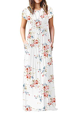 Damen Sommerkleider Kurzarm Lose Blumen Maxikleider Casual Lange Kleider mit Taschen, Weiß, L