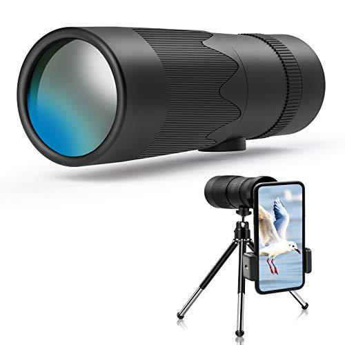 Jefshon HD Zoom Monokular Teleskope für Smartphones, Tragbare 8-24x40 Einziehbar Monokulares Teleskop mit Stativ, Astronomische Anfänger, Wasserdicht, Vogelbeobachtung/Camping