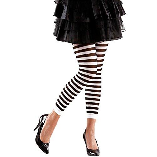 NET TOYS Ringel Leggings Gestreifte Legging schwarz-weiß Ringelleggings Kostüm Zubehör Damenleggings Fasching Karneval