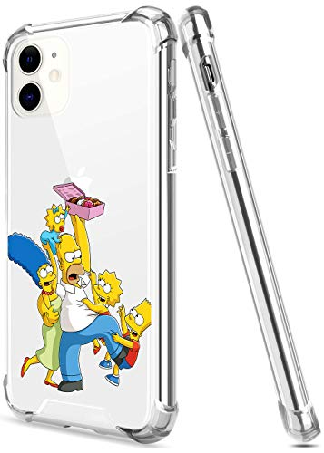 Crystal Clear iPhone 11 Case with 4 Corners Shockproof Protection,Cute Cartoon Design Soft TPU Bumper and Anti-Scratch PC Back Protective Cover Cases for Men and Women (Simpsons-Homer-Bart-Family)