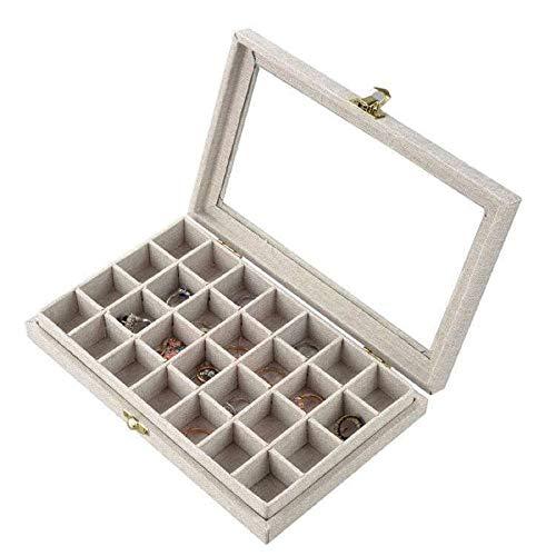 Recet Joyero, 28 compartimentos, joyero para mujer, caja para joyero con tapa de cristal enmarcada