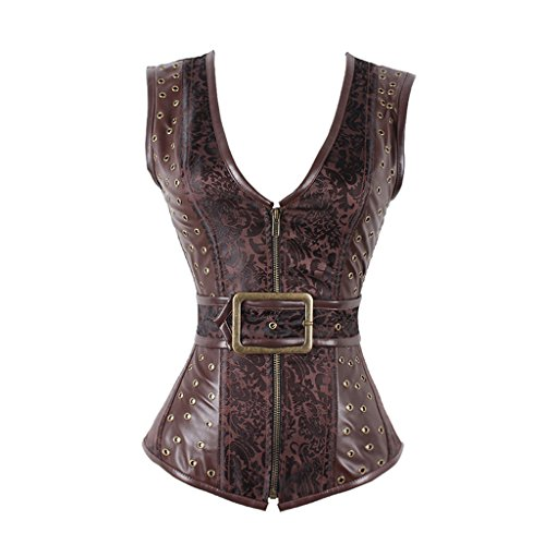 Women's Steampunk Vintage Brocade Brown Zipper Gothic Corset Waistcoat Vest (L)