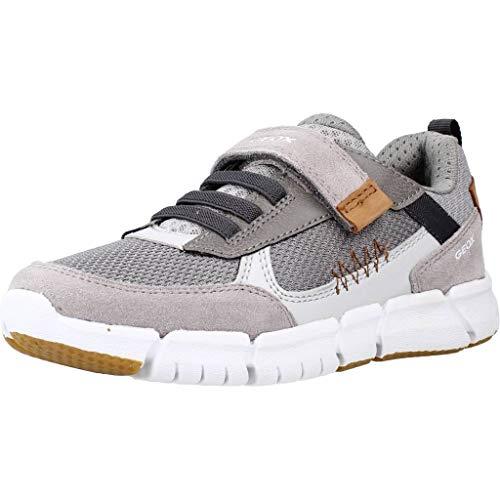 Geox J FLEXYPER Boy B Sneaker, Grey/Cognac, 34 EU