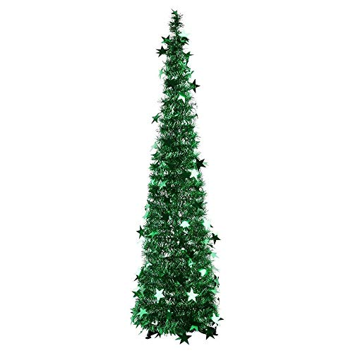Deesen 3.94FT Collapsible Christmas Tree Tinsel Xmas Tree Artificial Pencil Sequins Trees for Fireplace Party Decoration