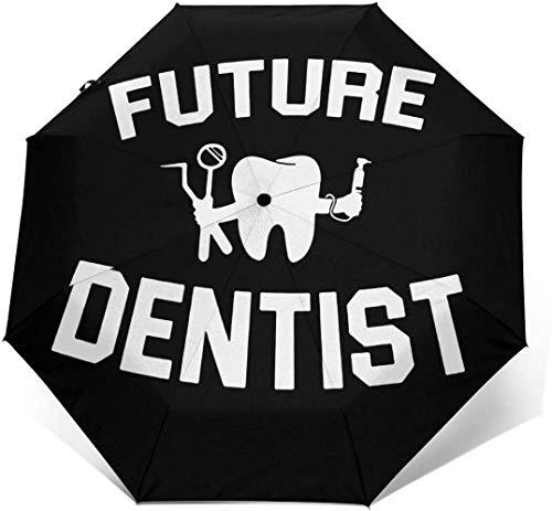 Niedlicher Dental-Stoffschirm mit automatischem Dreifach-Falt-Regenschirm Sonnenschirm, Sonnenschirm, Außendruck.