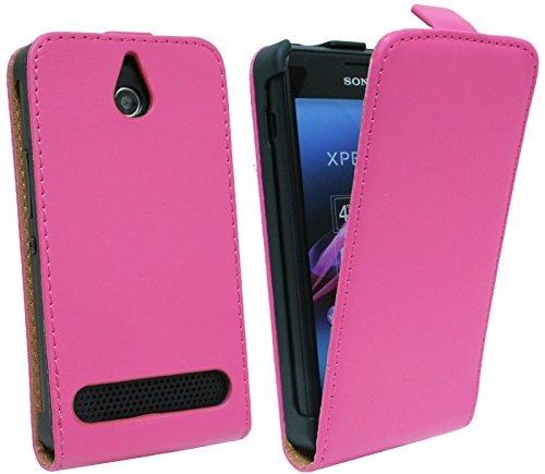 ENERGMiX Klapptasche Schutztasche kompatibel mit Sony Xperia E1 (D2005) in Pink Tasche Hülle