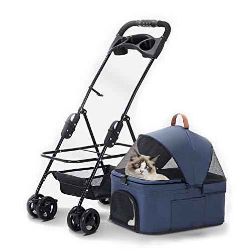 KLLKR Cochecito para Mascotas, Gato, Perro, Jaula, Viaje, Plegable, 4 Ruedas con Forro extraíble y Cesta de Almacenamiento para Mascotas pequeñas y Medianas(Color:Blue)