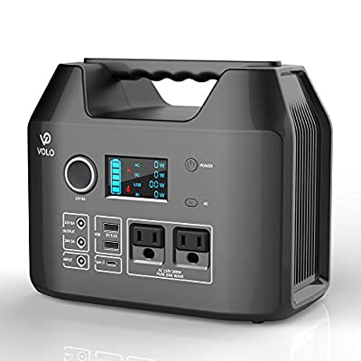 VOLO 300W Portable Power Station, 296Wh(80000mAh) Camping Lithium Battery Pack with 2AC 110V/ 1DC 12V/ 1DC 24V/ 1Car Cigarette Lighter/ 1QC3.0USB-C/ 2USB/Flashlight for Outdoor Camp Home Emergency