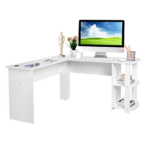 Ejoyous Eckschreibtisch, L-förmiger Computertisch, großer Home-Office-Schreibtisch, Arbeitstischstation mit offenem Regal, Computer-Laptop-Arbeitsstation-Arbeitstischeinheit Massive(Weiß)